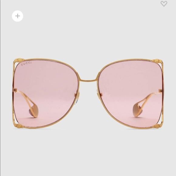 e000adb126f8f Oversized Gucci Sunglasses with Pink Lenses